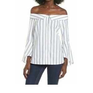 Leith Off The Shoulder Bell Sleeve Top,